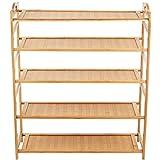 HanKey 100% natural flat bamboo shoe rack 3/4-Tier PB (5-Tier, 26.7